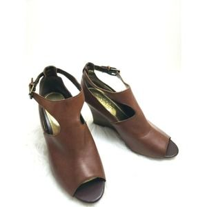 Ralph Lauren Hannie Wedge Leather Sandals